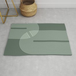 Geometric Lines in Sage Green 2 (Rainbow Abstraction) Rug