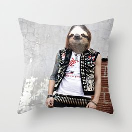 Punk Sloth II Throw Pillow