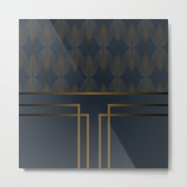 Art Deco Gold/Navy Pattern III Metal Print