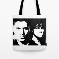 sam winchester Tote Bags featuring Winchester by Panda Cool