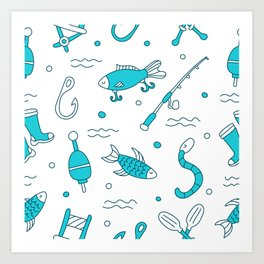 fishing pattern Art Print