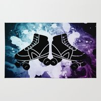 roller derby Area & Throw Rugs featuring Roller Derby Galaxy Skates by Mean Streak