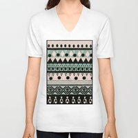 nordic V-neck T-shirts featuring PASTEL NORDIC TRIBAL  by Nika