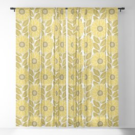 Sunflower Garden in Yellow Gold Sheer Curtain