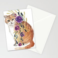 cat with flower boa Stationery Cards