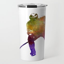 Hockey skater in watercolor Travel Mug