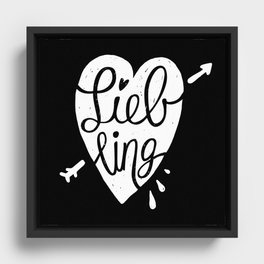 Liebling calligraphy - black Framed Canvas