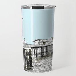 Penarth Pier Cardiff sketch with blue sky Travel Mug