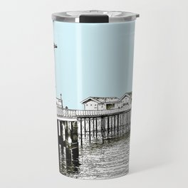 Penarth Pier Cardiff sketch with blue sky Travel Mug