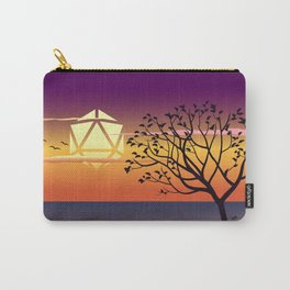 Beautiful Sunset By the Beach Trees and Birds D20 Dice Sun Tabletop RPG Landscape Carry-All Pouch