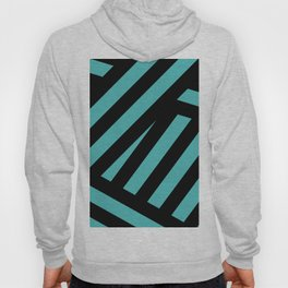 Black blue abstract stripes Hoody
