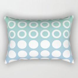 Mid Century Modern Circles And Dots Blue and Green Rectangular Pillow