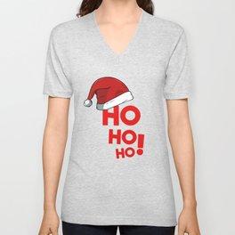 Ho Ho Ho Christmas Xmas Winter Holidays Santa Claus Hat Unisex V-Neck