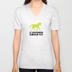 If unicorns could fly. Unisex V-Neck