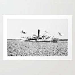 Ticonderoga Steamer on Lake Champlain Art Print