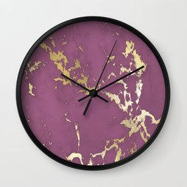 Plum Gold Marble Wall Clock