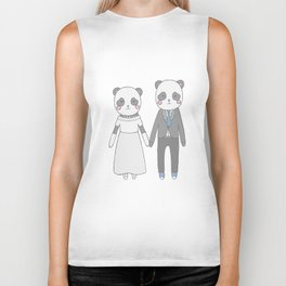 Wedding pandas, white background Biker Tank