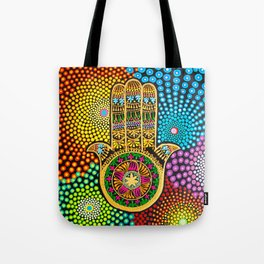 Hamsa Hand, hand of fatima, mandala, yoga art, mandala art, meditation art Tote Bag