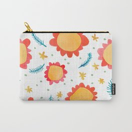 Painted Flowers orange Carry-All Pouch
