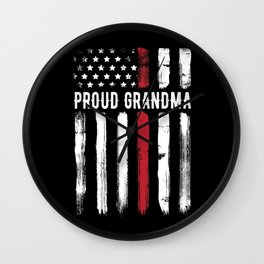 Thin Red Line Proud Grandma Firefighter Wall Clock