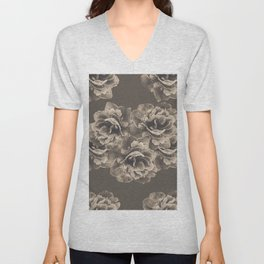 Sepia Peony Flower Bouquet #1 #floral #decor #art #society6 Unisex V-Neck
