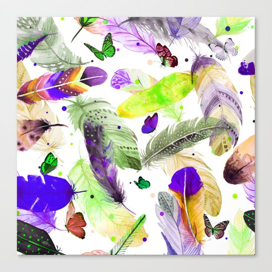 feathers and butterflies Canvas Print