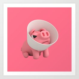 Rosa the Pig and the Cone of Shame Art Print