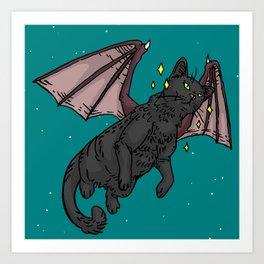 Bat Cat in Space Art Print
