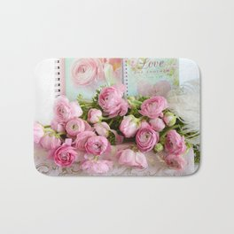 Shabby Chic Cottage Pink Floral Ranunculus Peonies Roses Print Home Decor Bath Mat