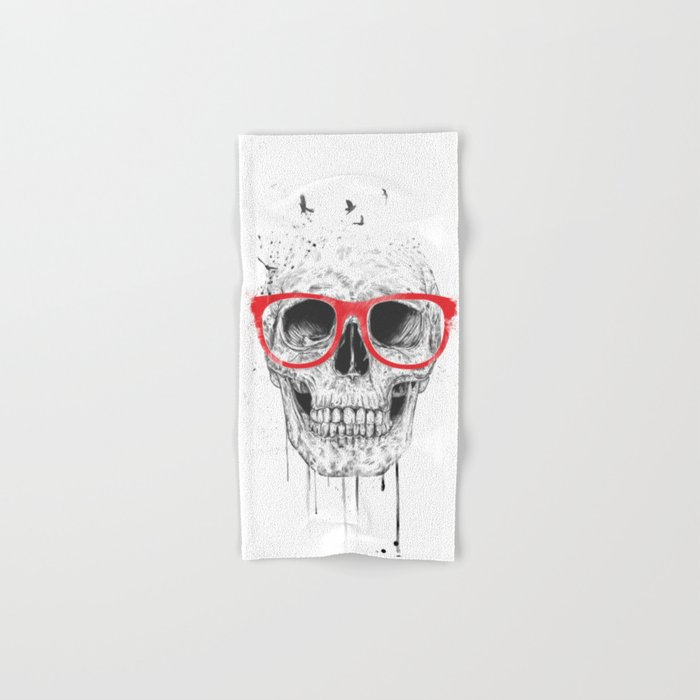 Skull with red glasses Hand & Bath Towel