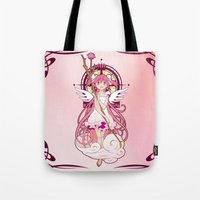madoka Tote Bags featuring Madoka Kaname - Nouveau edit. by Yue Graphic Design