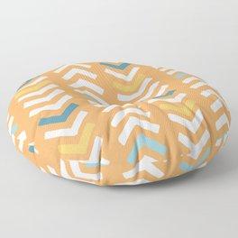 Abstract Chevron - Beach Vibes Orange and Blue Floor Pillow