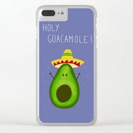 Holy Guacamole, avocado with sombrero Clear iPhone Case