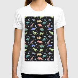 Rainbow Dinosaurs Black Background Theme T-shirt