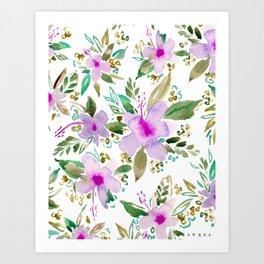 HIBISCUS DANCE Tropical Pink Floral Art Print