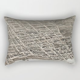 Vintage Pictorial Map of Newburgh New York (1875) Rectangular Pillow