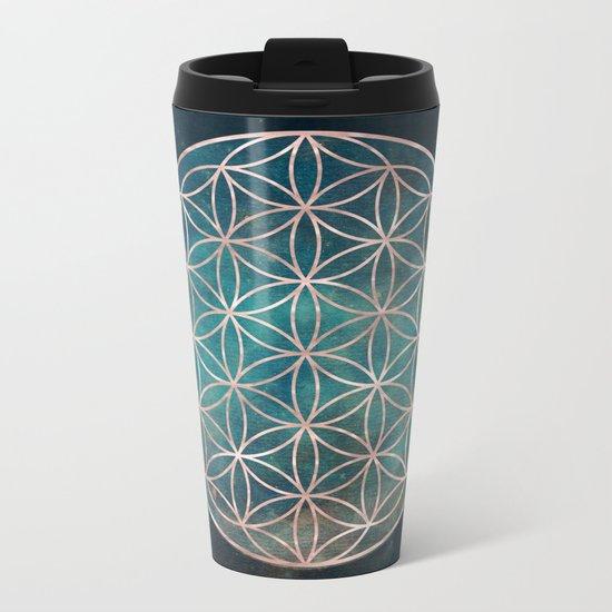 Mandala Flower of Life Rose Gold Space Stars Metal Travel Mug