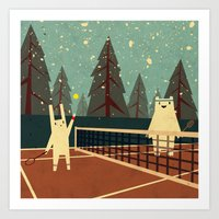 snow Art Prints featuring First Snow by Yetiland