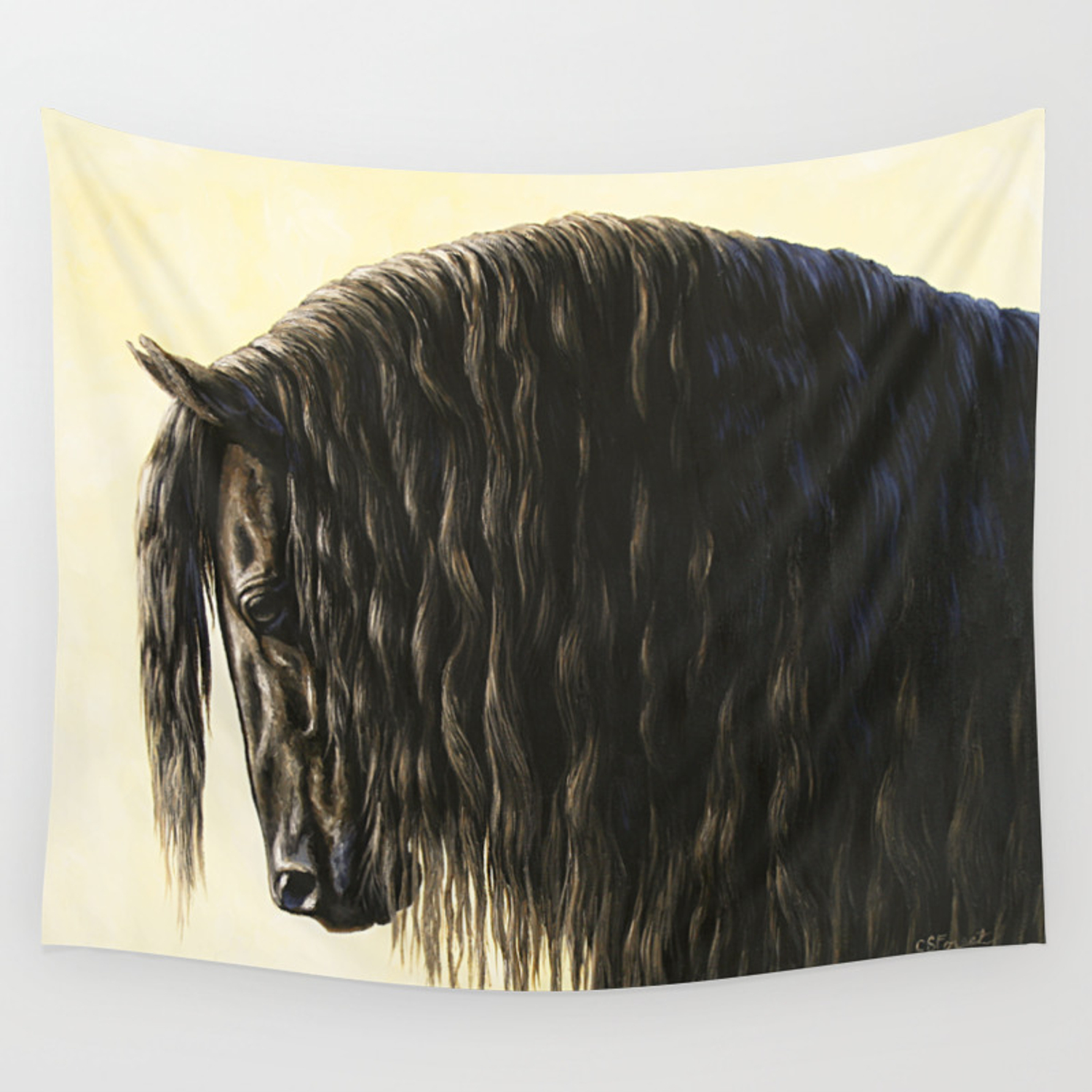 Black Friesian Draft Horse Wall Tapestry By Csforest Society6