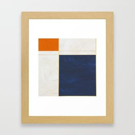 Orange, Blue And White With Golden Lines Abstract Painting Framed Art Print