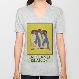 Falkland Islands travel poster Unisex V-Neck