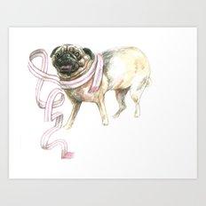 Scarf Pug Art Print