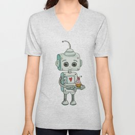The feeling when your cute little robot brings you a cupcake in the morning :) Unisex V-Neck