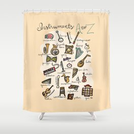 Instruments A to Z Shower Curtain