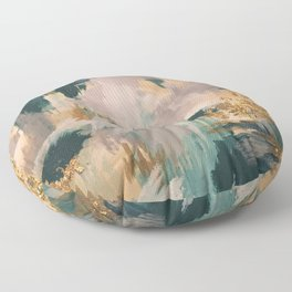 Teal and Gold Abstract- 24K Magic Floor Pillow