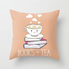 Books + Tea Throw Pillow