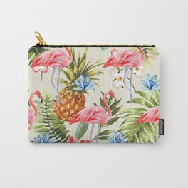 Floral Flamingos Carry-All Pouch