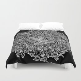 Hummingbird In Flowery Wreath Linocut Duvet Cover