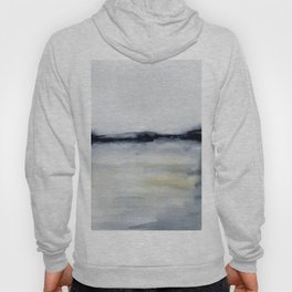 Calm Seascape Monochromatic Black & Grey Abstract Watercolor  Hoody