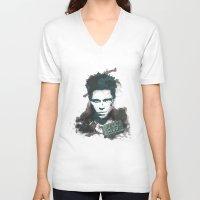 tyler durden V-neck T-shirts featuring Tyler Durden by thiagoilustrador